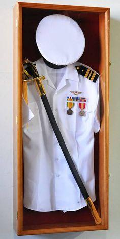 Display Cases - Uniform Shadow Box - Wonderful display case that is deep enough to display a full military uniform.