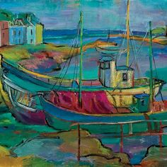 Two Fishing boats in harbor,Brittany - Robert H. (Hyman) Bizinsky (1915-1982)