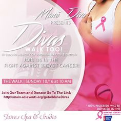 """October is Breast Cancer Awareness Month 💕  To join, walk, and donate to our team click the link in the bio 💞 Last year we exceeded our goal of 5,000 dollars , let's see if we can do it again. Anything is appreciated! As always  @nikita___g  will be donating  30% from each client towards our """"Mane Diva"""" team @americancancersociety. Feel free to share this flyer, we can't wait to see you there😘  @nikita___g  will open dates every weekend to allow more slots in October, click the  link in…"""