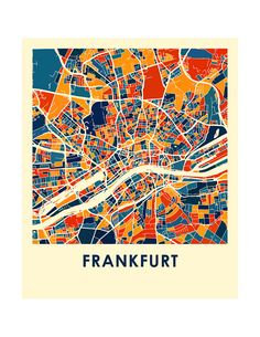 Frankfurt Map Print Full Color Map Poster by iLikeMaps on Etsy