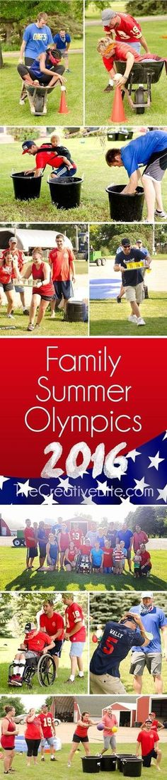 Family Summer Olympics 2016 - Backyard Games : Family Summer Olympics are an annual family tradition and an excuse to spend… Family Reunion Games, Family Games, Youth Group Games, Family Reunions, Youth Groups, Party Games Group, Family Family, Summer Games, Summer Activities