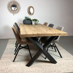 Metal Table Legs, Wood Table, Dining Table Design, Dining Room Table, House Of Beauty, Diy Outdoor Furniture, Home And Living, Living Room Designs, Kitchen Decor