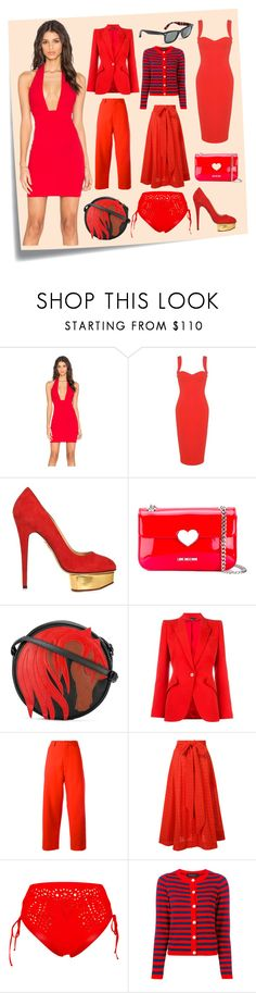 """""""Hot Look In Red"""" by cate-jennifer ❤ liked on Polyvore featuring Post-It, Toby Heart Ginger, Victoria Beckham, Charlotte Olympia, Love Moschino, Just Cavalli, Alexander McQueen, Marni, Lisa Marie Fernandez and Ermanno Scervino"""