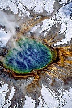 Aerial view of Grand Prismatic Pool, Yellowstone National Park, Wyoming by Jim Brandenburg