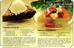 12 easy dinner recipes & desserts from the Impossible Pie recipe booklet - Click Americana Impossible brownie pie & Impossible buttermilk pie recipes - 12 ideas from the Impossible Pie recipe booklet - Bisquick Recipes, Pie Recipes, Cooking Recipes, Family Recipes, Cooking Fish, Casserole Recipes, Sweet Recipes, Recipies, Healthy Recipes