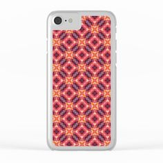 Geometric Flowers Pattern Clear iPhone Case