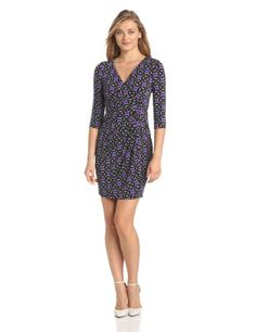 Maggy London Women's Petite Octagon Chain Printed Jersey Wrap Dress #workdresses