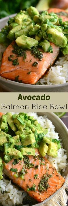 Avocado Salmon Rice Bowl. Beautiful honey, lime, and cilantro flavors come together is this tasty salmon rice bowl. #seafoodrecipes