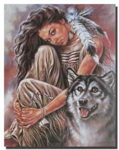 Amazon.com: Indian Maiden and Wolf Native American Art Print Poster