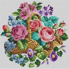 Basket Of Flowers Susan Treglown mesh: 14:1 dimension: 14 x 14