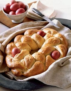 Tsoureki - eggs are tucked into the braided crown of this classic Greek Easter bread