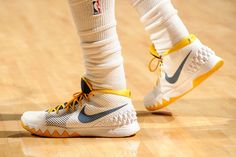 The shoes of Kyrie Irving #2 of the Cleveland Cavaliers during the game against the Brooklyn Nets on March 18, 2015 at Quicken Loans Arena in Cleveland, Ohio.