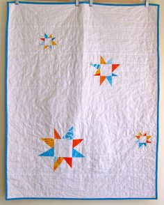 Six White Horses: Wonky Stars Trio. Fun for a quilt back. Quilting Projects, Sewing Projects, Handmade Baby Quilts, Cotton Quilting Fabric, White Horses, Star Quilts, Machine Quilting, Hand Stitching, Fiber Art