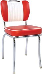 "$279.95 The Malibu Handle Diner Chair Set of 2    The commercial grade Malibu Handle Diner Chair is manufactured with 14-gauge chrome plated steel, a 2"" sewn-hood seat cushion and glides to protect your floors. This chair is offered in many colors and with optional contrasting vertical channeling."