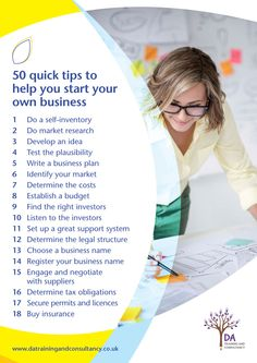 Page one of a pdf showing 50 quick tips to help start your own business, designed for DA Training and Consulting