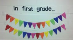 Hall display where the students talk about one thing they learned in first grade! (Or any grade.) Maybe next time I'll color-code it... red for math, green for science, etc. I think it's pretty cute!