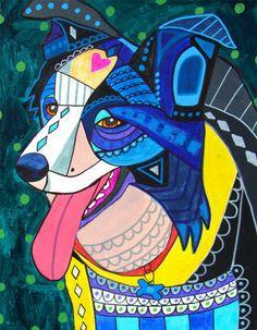Border Collie art Dog Art Print Poster of by HeatherGallerArt, $24.00
