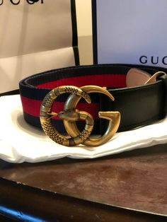 b3c54d3e8ea Mens Gucci Made in Italy Blue   Red Super snake belt