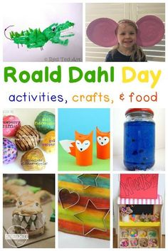 Roald Dahl Day Activities - lots of fun, clever kids activities to celebrate Roald Dahl day September including activities for Fantastic Mr. Bfg Activities, Roald Dahl Activities, Library Activities, Childcare Activities, Educational Activities, Roald Dahl Day, Roald Dahl Books, Charlie And The Chocolate Factory Crafts, Scary Stories For Kids