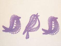 Embroidery Project 9 gallery - FSL bobbin-lace look birds Hairpin Lace Crochet, Crochet Motif, Crochet Shawl, Crochet Edgings, Bobbin Lace Patterns, Bead Loom Patterns, Lace Earrings, Lace Jewelry, Lacemaking