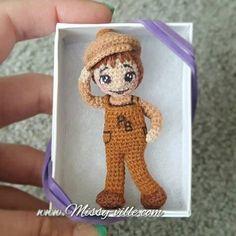 3 8cm Peanut Butter Boy. Mini Crochet. OOAK Custom by MissyVille