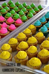 Colorful Mini Hummingbird Cupcakes on MyRecipeMagic.com These freeze beautifully and makes enough for a crowd!
