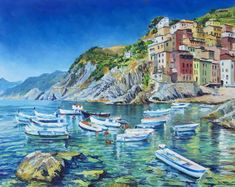 Riomaggiore original oil painting Italy lanscape with sea | Etsy Landscape Walls, Landscape Paintings, Creative Landscape, English Castles, Sky Mountain, Visit Italy, Sea Waves, Most Beautiful Cities, Great Artists