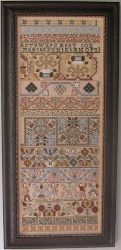 MERY COX: original sampler circa 1670; antique reproduction chart and model by The Scarlet Letter.