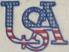 USA Applique Embroidery Design. Blue is applique