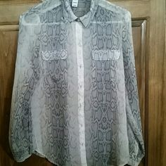 Old Navy Top Snake skin pattern.  Shades of.grey and cream. Button down sheer fabric. Buttons at wrist. Worn one time. Love it but tight at bust. Old Navy Tops