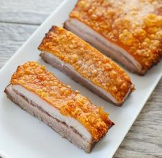 This is the best pork belly recipe I've made. The pork skin is incredibly crispy, perfectly golden, and the prep work is very minimal compared to all the other pork bellies I've made. No need to score or puncture holes in the skin. Best Pork Belly Recipe, Roasted Pork Belly Recipe, Pork Belly Recipes, Crispy Pork, Baked Pork, Pork Belly Slices, Chicharrones, Pork Roast, Pork Loin