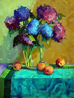 Violet Hydrangeas by Trisha Adams Oil ~ 40 x 30
