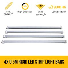 4x 0.5M Rigid LED Strip Light Bars 12V 5730 SMD Caravan 4WD Camping Boat Tent