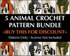 Digital PDF Crochet Pattern Bundle - 5 Crochet Patterns for Animal Scarves - DIY Fashion Tutorial - Instant Download