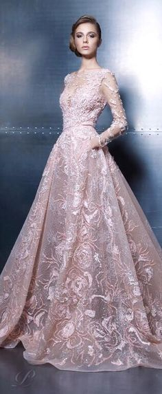 Ziad Nakad ~ Haute Couture Embroidered Lace Ball Gown, Soft Pink 2015