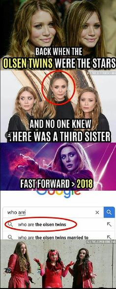 Really, no one ever knew this! I was a huge fan of the Olsen family hence why scarlet witch Aka Elizabeth Olsen is my fave XD Funny Marvel Memes, Dc Memes, Marvel Jokes, Avengers Memes, Marvel Dc Comics, Marvel Heroes, Marvel Avengers, Marvel Universe, The Mentalist