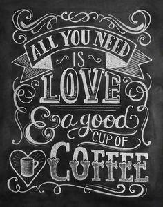 Love & Coffee Chalkboard Art Print- cool idea for chalkboard space between windows