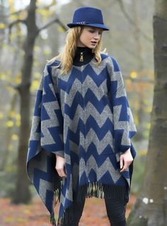 e51a4e62c6d Pia Rossini Zip up Blanket Poncho with navy wool trilby hat