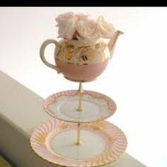 Pink tea pot tray