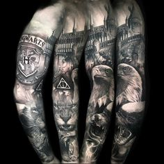 Sleeve tattoo design your own. love this tattoo. love this tattoo tatto harry potter Half Sleeve Tattoos Color, Half Sleeve Tattoos Lower Arm, Full Sleeve Tattoo Design, Half Sleeve Tattoos Designs, Full Sleeve Tattoos, Tattoo Designs Men, Sleeve Tattoo For Guys, Harry Potter Tattoo Sleeve, Harry Tattoos