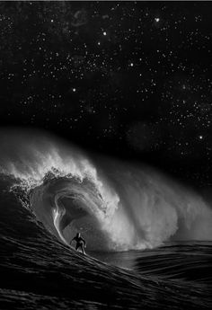 night surf with stars, very amazing