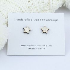 Star Earrings Wooden Stars, Happy Design, Star Gift, Wooden Earrings, Star Earrings, Ear Studs, Gift Packaging, Small Gifts, Free Gifts