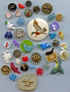 SOLD: 40 bird buttons antique vintage and modern buttons