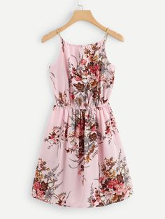 Shop Floral Print Random Tie Neck Cami Dress at ROMWE, discover more fashion styles online. Cute Dresses For Teens, Trendy Dresses, Casual Dresses, Girls Fashion Clothes, Teen Fashion Outfits, Fashion Dresses, Cute Casual Outfits, Pretty Outfits, Stylish Outfits
