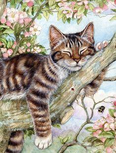 Sleepy Cat by Debbie Cook Flag Garden Size - Coole Katzen - Cats Cat Embroidery, Sleepy Cat, Cat Sleeping, Sleeping Drawing, Cat Drawing, Drawing Animals, Beautiful Cats, Cat Art, Cats And Kittens