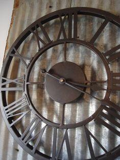 Love big huge old clocks Huge Wall Clock, Big Clocks, Cool Clocks, Metal Clock, Wooden Clock, Tick Tock Clock, Unusual Clocks, Corrugated Tin, Luxury Duvet Covers
