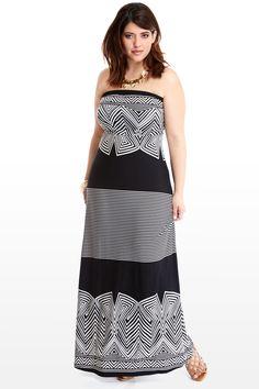 Plus Size Striped Strapless Maxi Dress | Fashion To Figure