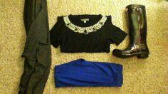•Grey Cardigan: H&M •Bejeweled Blouse: Forever 21 •Blue Leggings: Charlotte Russe •Rain Boots: Hunter