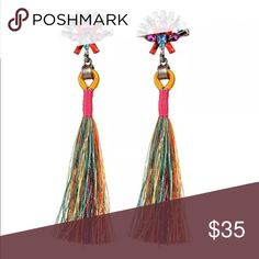 Rainbow Tassel & Precious Gems Earrings Bohemian style, comfortable to wear  Suit for daily wear or night club, party, etc  Material: Alloy,Semi-precious Stones  Earring size: 10*2.5 cm/ 3.94*0.98 inch Jewelry Earrings
