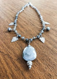 Moonstone Necklace, Silver Leaf Necklace, Pearl Necklace, Artisan Necklace, Australian Moonstone Necklace by woodsandwillow on Etsy Gold And Silver Bracelets, Silver Beads, Sterling Silver Bracelets, Silver Jewelry, Moonstone Necklace, Moonstone Pendant, Leaf Necklace, Touch Of Gray, Leaf Jewelry